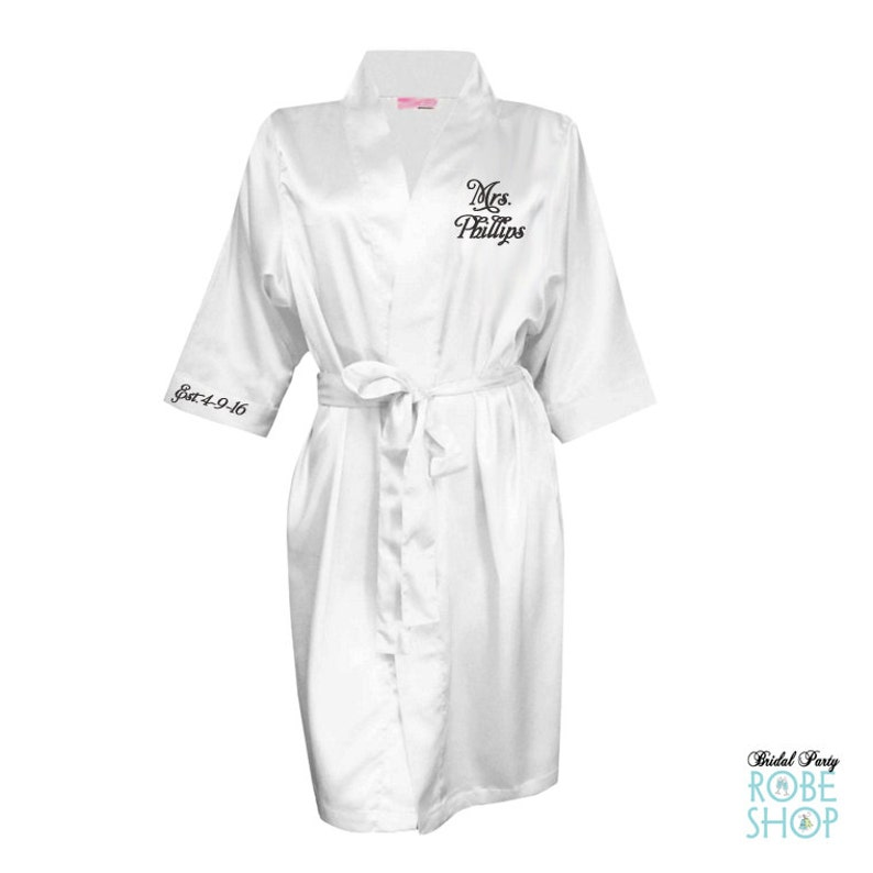 0d4386dbec9 Personalized Satin Bridal Robe with Mrs. Name and Date on