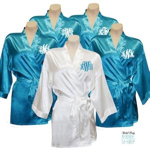 personalized mr mrs satin robe set monogrammed bride and etsy. Black Bedroom Furniture Sets. Home Design Ideas