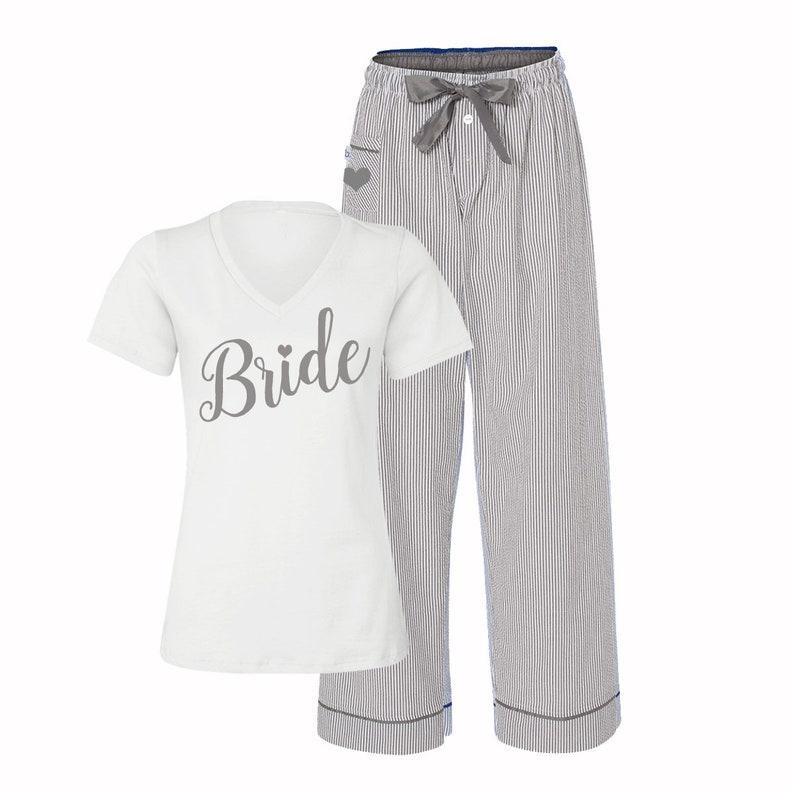 3209d616d1 Bride Pajamas Bridal Pajamas Bride PJS Bridal Pjs Wedding