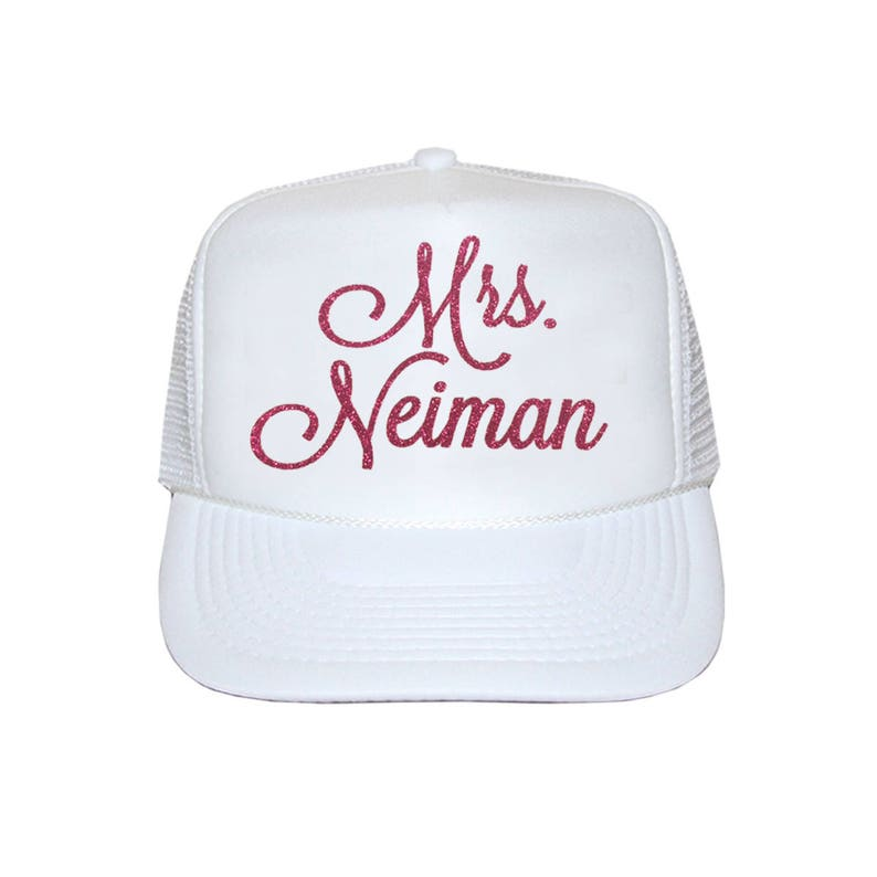Mrs. Personalized Trucker hat Custom Glitter Bride trucker  6c78bacb3d0b