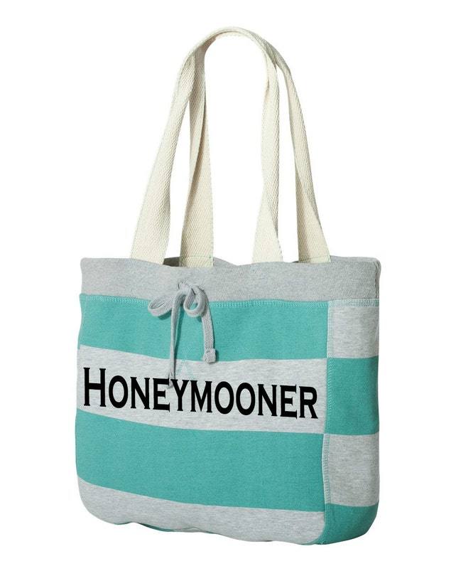 Honeymooner Beach Bag for the bride, beach tote bag, bridal shower gift idea, engagement party or honeymoon tote bag, just married tote bag