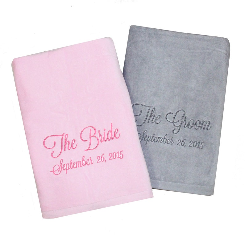 4735564dd6cf The Bride   The Groom Monogrammed Beach Towels for the