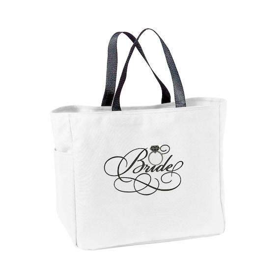 Bride Tote Bag, Bridal Embroidered Tote Bag, Bride carry all, Mrs bag, Just Married Tote, Newlywed Bag, Honeymoon bag, bridal shower gift