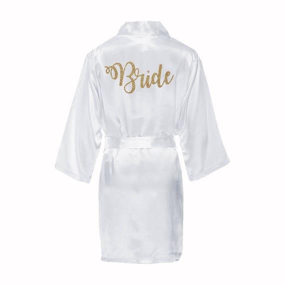 Satin Bridal Robe with gold glitter, Satin Bride Robe, White satin bride robe, gold glitter bride robe, wedding day robe, bridal kimono robe
