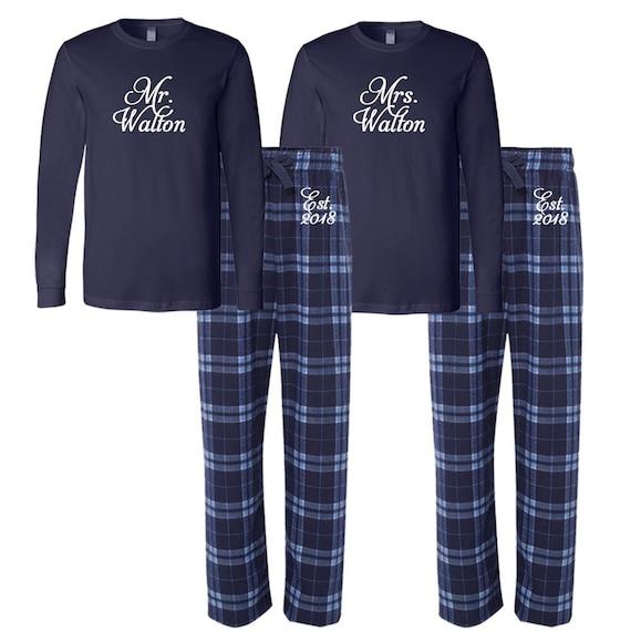 Son et Sien Mr /& Mrs Couples Set Mari /& Femme Lune de miel correspondants Pyjamas