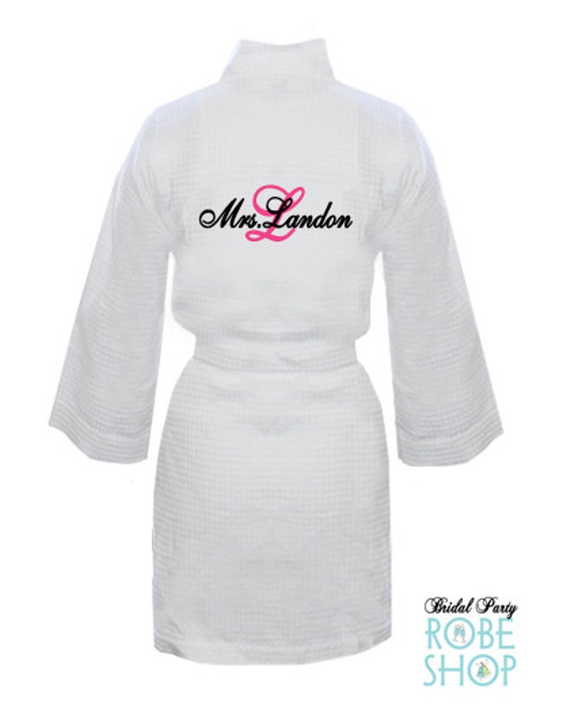 1c89edc106 Personalized Waffle Weave Robe with Mrs. Name and Initial on