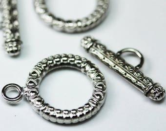 6 Sets Oxidized Silver Tone Base Metal Toggle Clasps 12462Y-K-219
