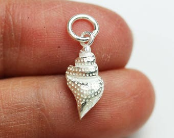 4 Solid 925 Sterling Silver  3D Sea Shell Charm Dangle beads oxidised