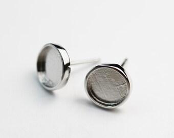 post earrings Jewelry base 10 pcs Sterling Silver 925 stud bezel earrings round setting with loop 3mm shiny silver Silver earrings