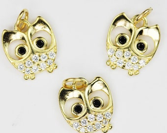 Gold Filled Pave Owl Pendant,Micro CZ Owl Stones,Animal Jewelry Findings 6.5x13x2mm 1PCS