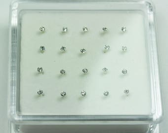 20pcs 1.5mm 925 Sterling silver Jewellery Findings, Nose Stud Ring with ball end,1.5mm Rhinestone, 12mm pin-FDSSE00106