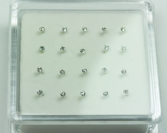20pcs  925 Sterling silver Jewellery Findings Nose Stud Ring ,2.0mm Rhinestone, 12mm pin -FDSSE00106