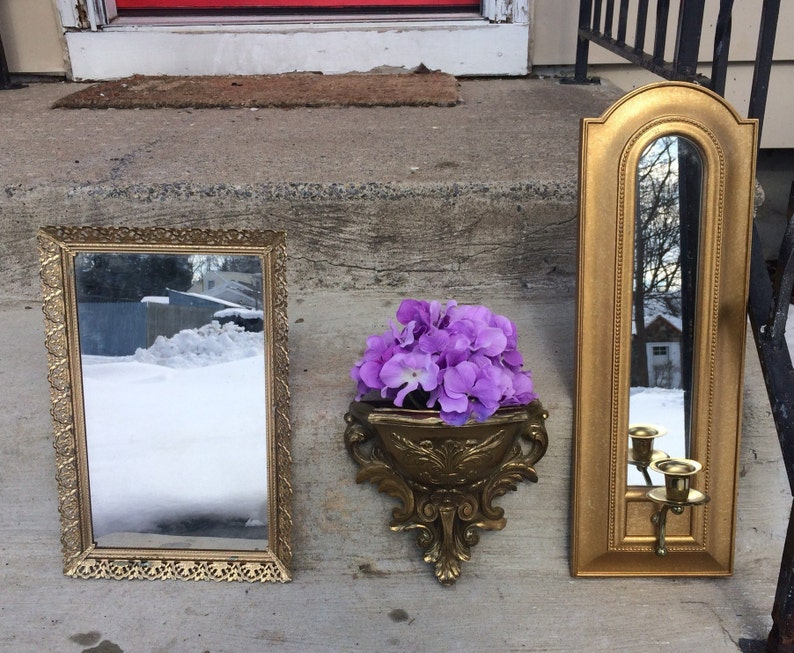Gold Wall decor Bedroom set of 3, Vintage Filigree frame & Mirror, Homco  pocket planter Candle holder, girls princess room Nursery Entryway