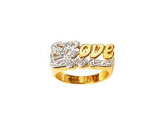LR2096-10K Gold 9.5mm Love & Heart Ring