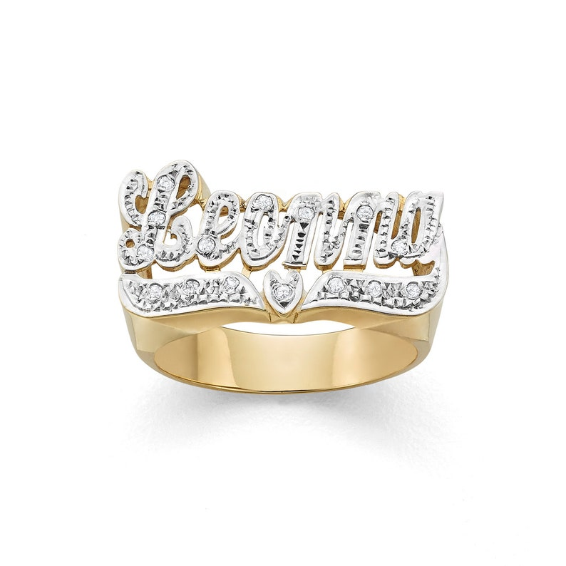 LEE110d 10k or 14k Gold 10mm All Diamond Name Ring image 0