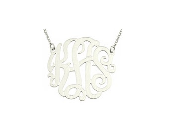 """Mono308 - Rhodium Plated 1.5""""Sterling Silver Brush Finished Monogram Necklace"""