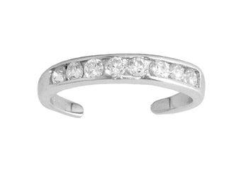 CS19 Sterling Silver 925 Cubic Zirconia Channel Set Eternity Toe Ring