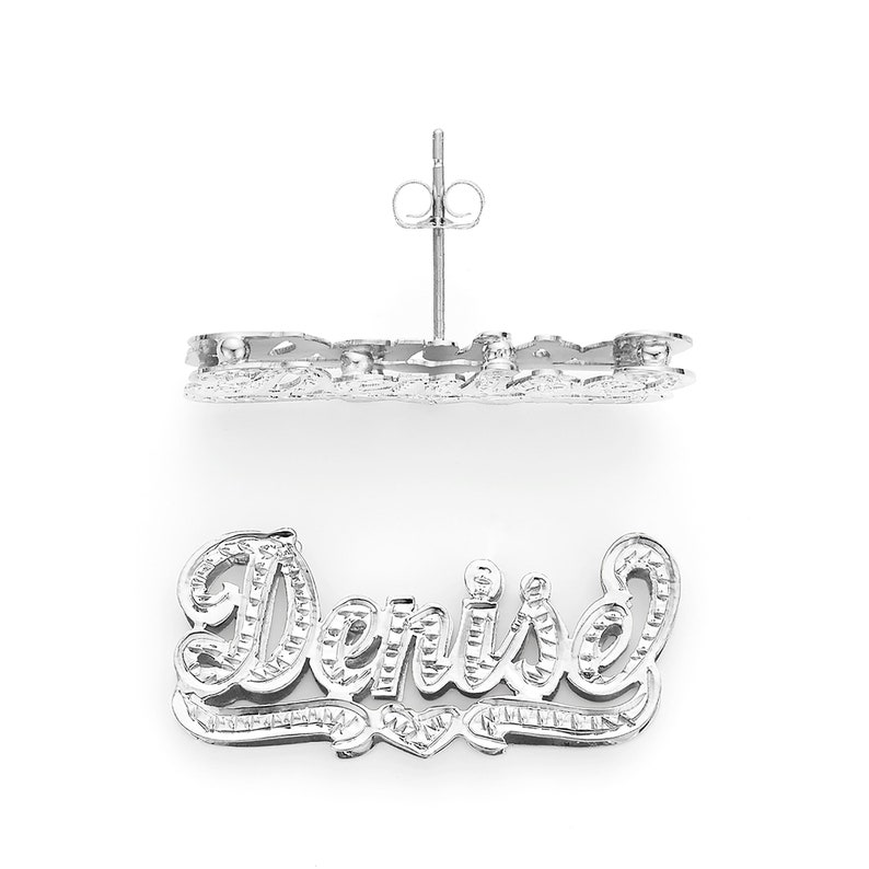 279eb38b8 SNS824 Silver 1 Luminous Love 3D Name Earrings   Etsy