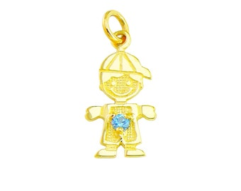 S10Boy-Dec1 10 Karat Yellow 1/2 inch Small Size Boy Pendant with December Stone (Any month stones are available).