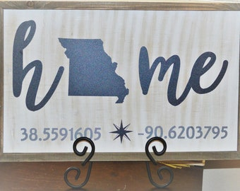 State Home SIgn - White Washed Wood