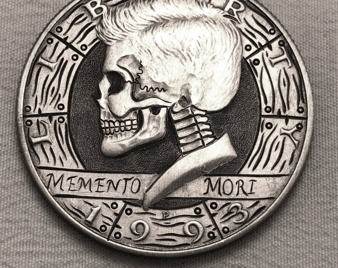 Hobo Nickel Skull Kennedy Half Dollar Love Token hand engraved