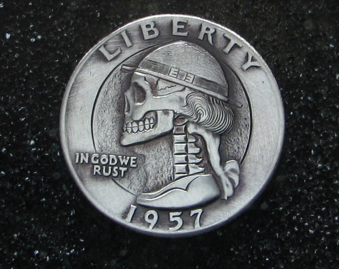 Hobo Nickel Skull By M.J. Petitdemange engraved coin,memento mori,carved skull,Jewelry,Art-metal-Fathers-Dads Day-Halloween,Day of the Dead