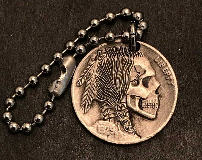 Hobo Nickel Skull By M.J. Petitdemange engraved coin,keychain, necklace, memento mori,carved skull,hand engraved, Jewelry,