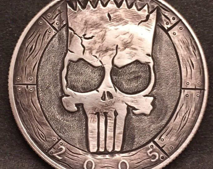Bart Simpson Punisher Skull By M.J. Petitdemange engraved coin,memento mori,carved skull,Jewelry,Art-metal-Sugar Skull-Halloween