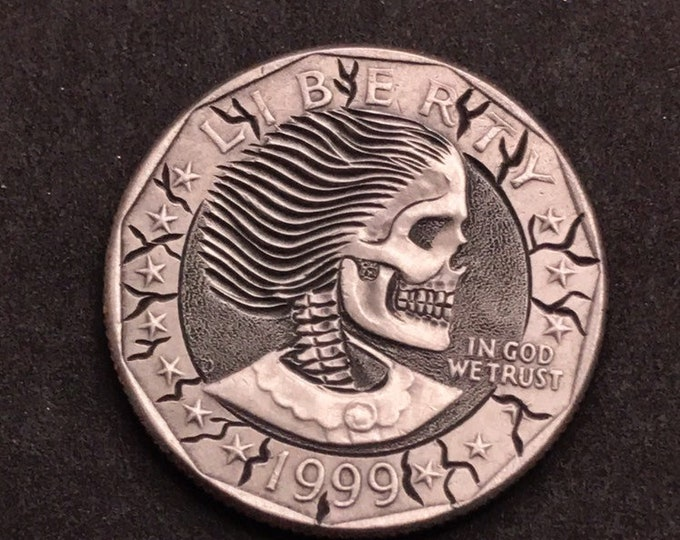 Hobo Nickel S. B. Anthony Skull  By M.J. Petitdemange  pocket-art-coin-Handcarved-Folkart-Jewelry-Art-Groomsmen gift-edc-handmade