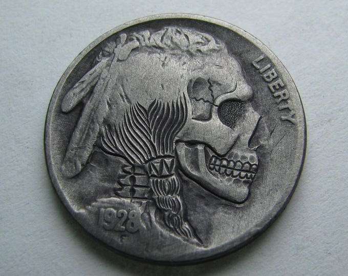Hobo Nickel Skull By M.J. Petitdemange engraved coin, groomsmand gift, token, edc, pocket art, good luck charm.