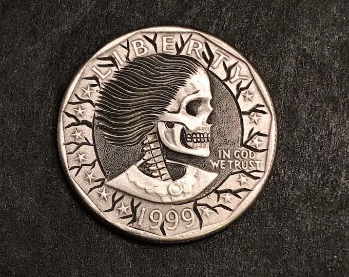 Hobo Nickel S. B. Anthony Skull  By M.J. Petitdemange  pocket-art-Challenge Coin-Handcarved-Folkart-Jewelry-Art-Groomsmen gift-edc-handmade