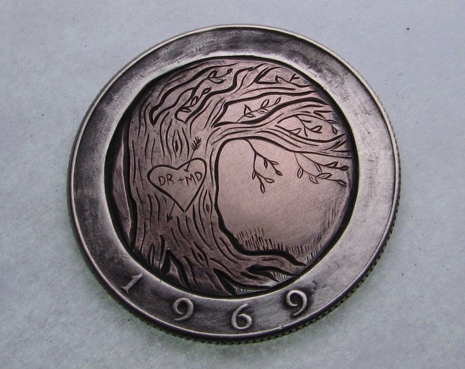 Hobo Nickel Love Token. Sweetheart tree. Hand carved on a Kennedy Half Dollar. Valentine, jewelry,gift