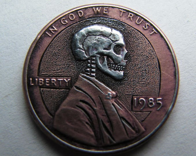 Hobo Nickel Penny Skull By M.J. Petitdemange engraved coin,memento mori,carved -Jewelry,Art-metal-Groomsman gift-Halloween,Day of the Dead
