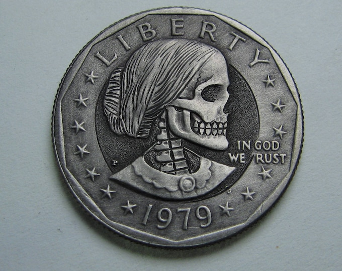 Hobo Nickel S. B. Anthony Skull  By M.J. Petitdemange  Buy Coin online-Rare coin-Handcarved-Folkart-Jewelry-Art-Groomsmen gift-Halloween