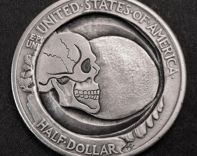 Hobo Nickel Love Token. Hand Carved  Skull Coin Silver Walking Liberty Half . necklace, memento mori, skull,hand engraved, Jewelry,
