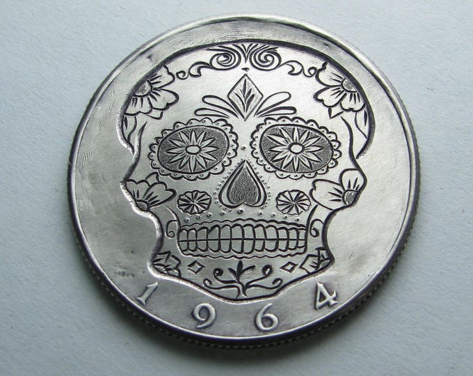 Hobo Nickel Skull By M.J. Petitdemange hand engraved coin,memento mori, hand carved skull