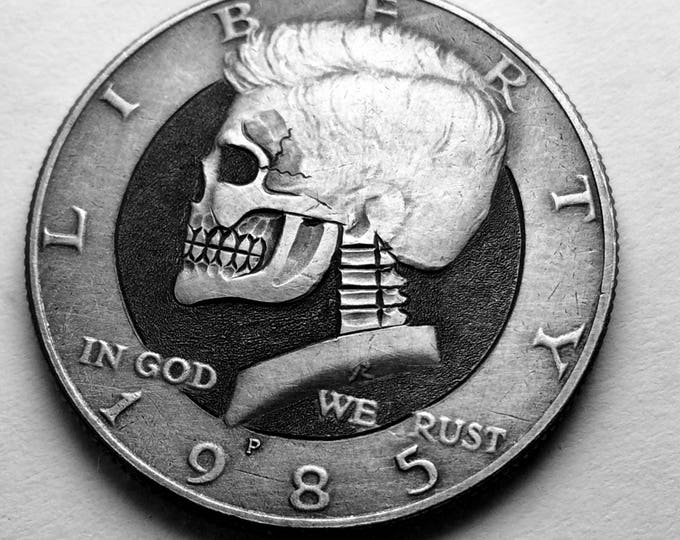 Hobo Nickel Skull By M.J. Petitdemange engraved coin,memento mori,carved skull,Jewelry,Art-metal-Groomsmen gift-Halloween,Day of the Dead