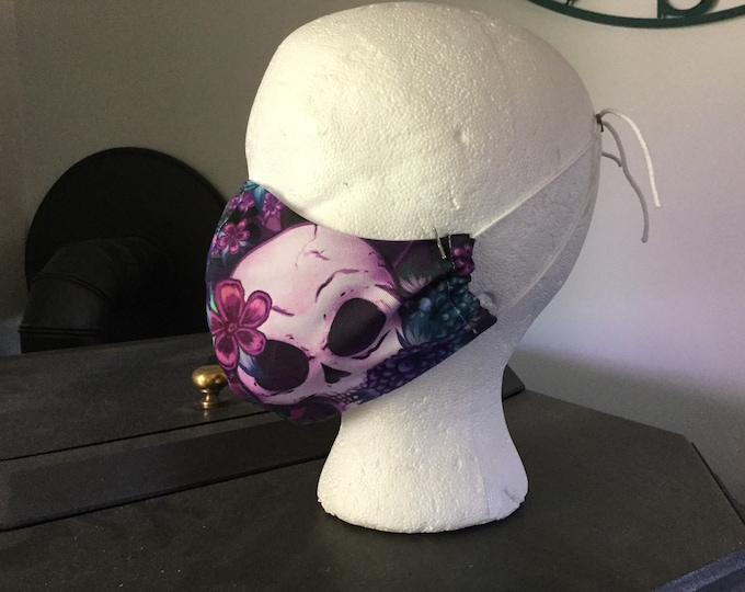 "Mask - Handmade Cloth PPE mask, breathable face covering, washable, Skulls with blue & purple flowers. Adult size regular ""FREE SHIPPING"""