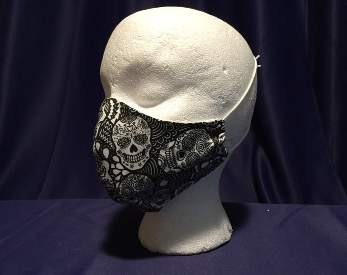 "Mask - Handmade Cloth PPE mask, breathable face covering, washable, Black & White Sugar Skull pattern.  Adult size regular ""FREE SHIPPING"""