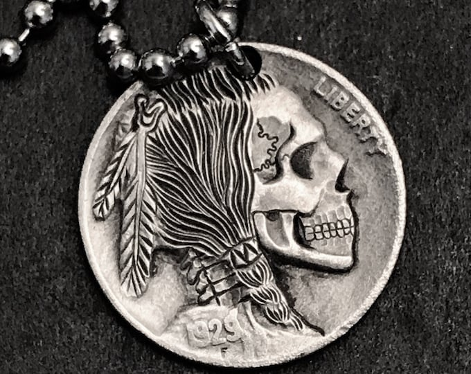 Hobo Nickel Skull By M.J. Petitdemange engraved Challenge Coin,keychain, necklace, memento mori,carved skull,hand engraved, Jewelry,