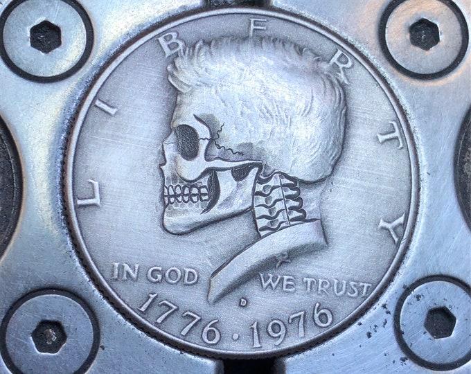 Hobo Nickel Skull By M.J. Petitdemange engraved Challenge Coin,memento mori,carved skull,Jewelry,Art-metal-Groomsmen gift-Halloween