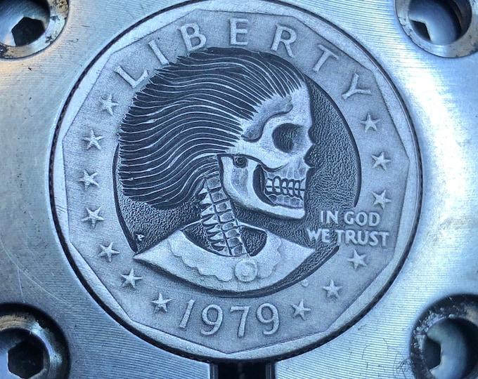 Hobo Nickel S. B. Anthony Skull  By M.J. Petitdemange  pocket-art-Challenge Coin-Handcarved-Folkart-Jewelry-Art-Groomsmen gift-edc-handmade