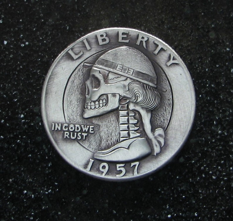 Hobo Nickel Skull By M J  Petitdemange engraved coin,memento mori,carved  skull,Jewelry,Art-metal-Fathers-Dads Day-Halloween,Day of the Dead