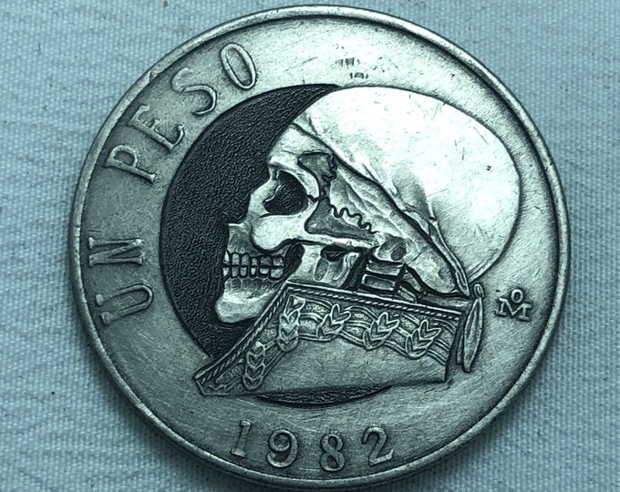 1 PESO Hobo Nickel Skull By M.J. Petitdemange engraved coin,memento mori, hand carved ,Jewelry,Art-metal-Fathers-Dads Day-Day of the Dead
