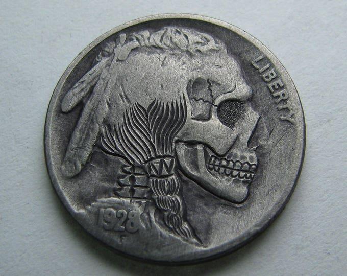 Hobo Nickel Skull By M.J. Petitdemange engraved Challenge Coin, groomsmand gift, token, edc, pocket art, good luck charm.