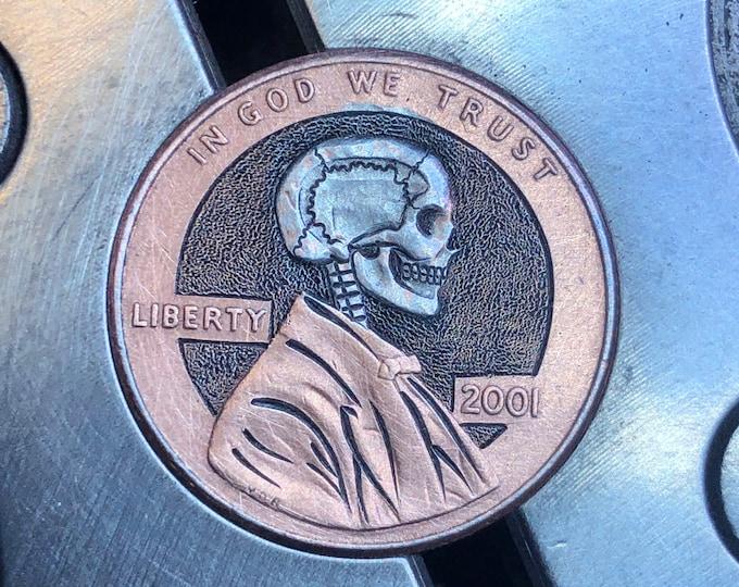 Hobo Nickel Penny Skull By M.J. Petitdemange engraved coin,memento mori,carved -Jewelry,Art-metal-Groomsman gift-Halloween,Day of the Dead