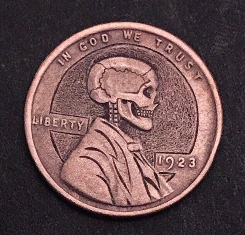 Hobo Nickel Penny Skull By M J  Petitdemange engraved coin,memento  mori,carved -Jewelry,Art-metal-Groomsman gift-Halloween,Day of the Dead