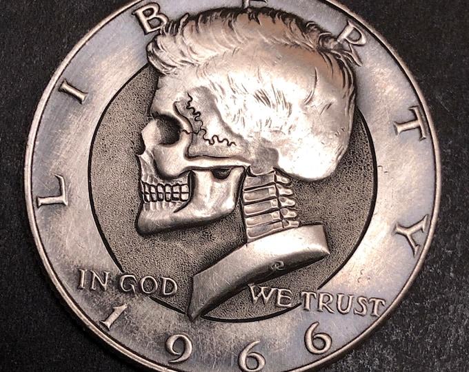 Hobo Nickel Skull By M.J. Petitdemange engraved coin,memento mori,carved skull,Jewelry,Art-metal-Groomsmen gift-Halloween,Day of the Dead