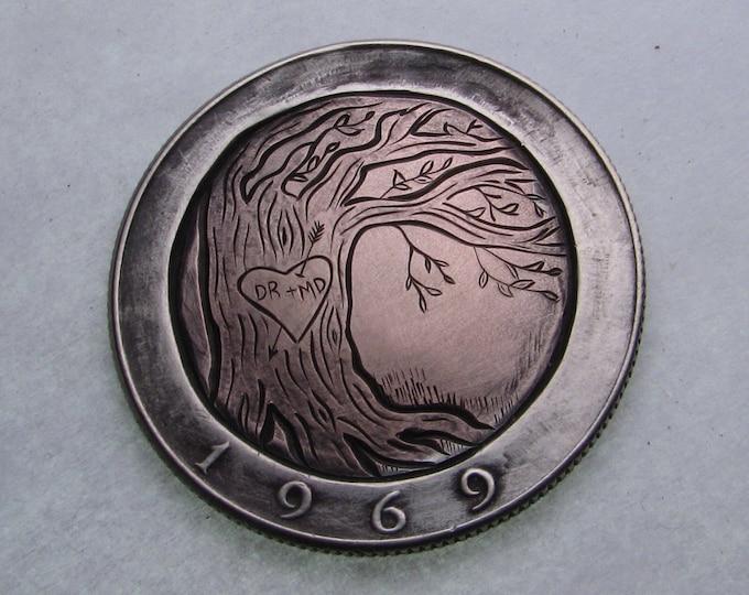 Hobo Nickel Love Token. Sweetheart tree. Hand carved on a Kennedy Half Dollar. Valentine, jewelry,gift