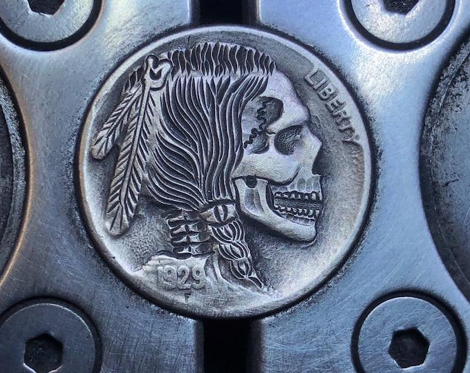 Hobo Nickel Skull By M.J. Petitdemange engraved coin,memento mori,carved skull,Jewelry,Art-metal-Groomsman gift-Halloween,Day of the Dead